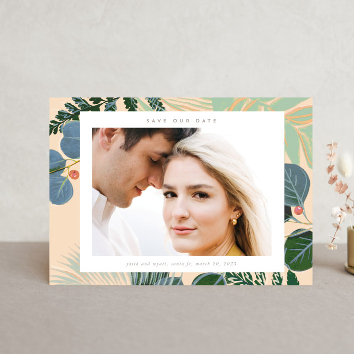 """""""Bold Floral"""" - Save The Date Petite Cards in Buttercream by Baumbirdy."""