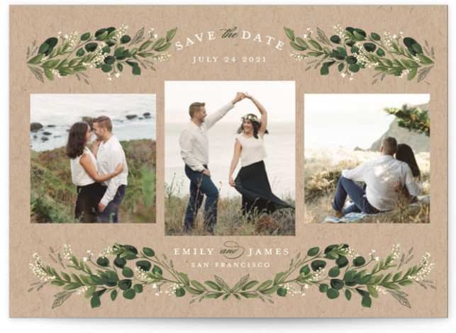 This is a botanical, brown, green Save the Dates by Susan Moyal called Greenery Wisp with Standard printing on Signature in Petite fold over (blank inside) format. A multi photo design with greenery vines