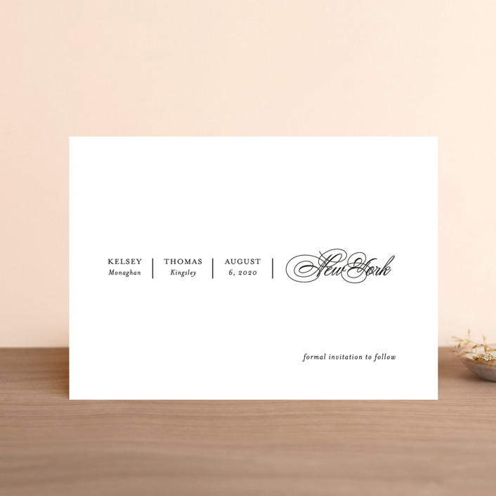 """White Space"" - Save The Date Petite Cards in Noir by Kimberly FitzSimons."
