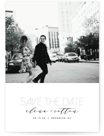 This is a portrait classic and formal, simple and minimalist, grey Save the Dates by AK Graphics called Urban Type with Standard printing on Smooth Signature in Petite Flat Card format. A clean, mod contemporary photo Save the Date card ...