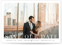 This is a white petite save the date by Kasia Labocki called Simple Elegance with standard printing on smooth signature in petite.