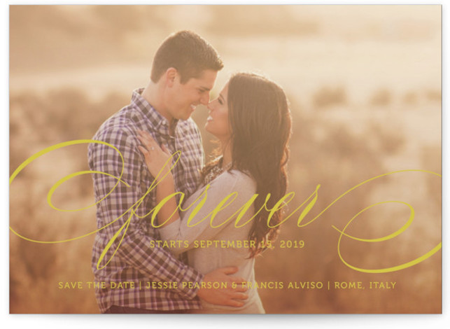 This is a landscape classic and formal, yellow Save the Dates by Kimberly FitzSimons called Forever with Standard printing on Signature in Petite Flat Card format.
