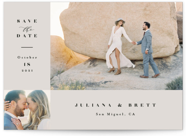 This is a classic and formal, grey Save the Dates by Jennifer Wick called Seamless with Standard printing on Smooth Signature in Petite Flat Card format. An understated, two photo save the date with refined typography.