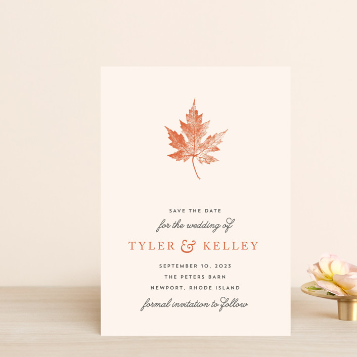 """""""Leaf Print"""" - Save The Date Petite Cards in Mocha by Katharine Watson."""