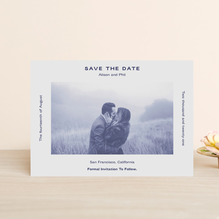 """""""Flyer"""" - Save The Date Petite Cards in Navy by Jack Knoebber."""