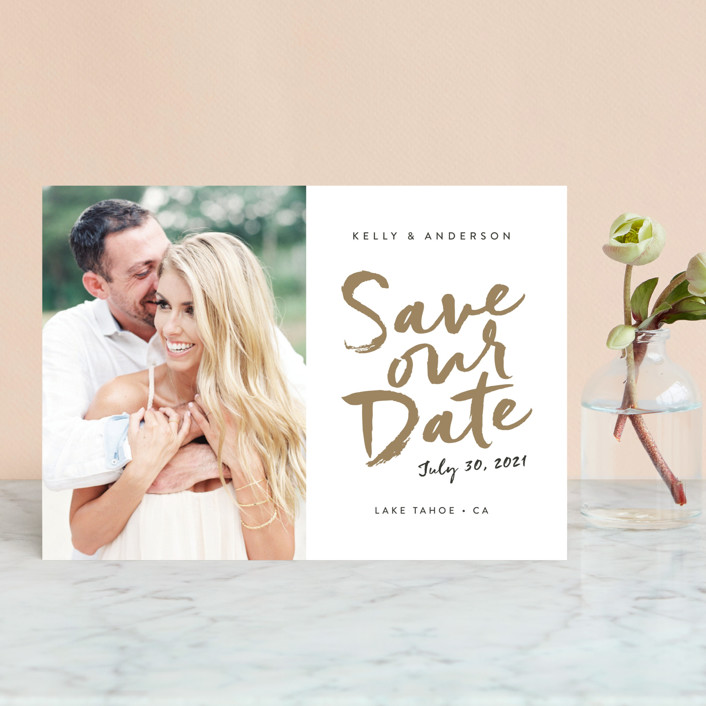 """""""Written"""" - Save The Date Petite Cards in Gold Leaf by Robin Ott."""
