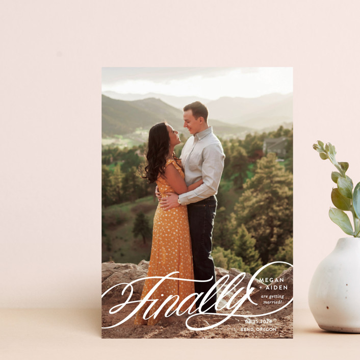 """""""Finally Getting Married"""" - Save The Date Petite Cards in Cotton by Jill Means."""