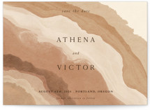 This is a brown petite save the date by Elly called Rustic Abstract with standard printing on doublethick in petite.