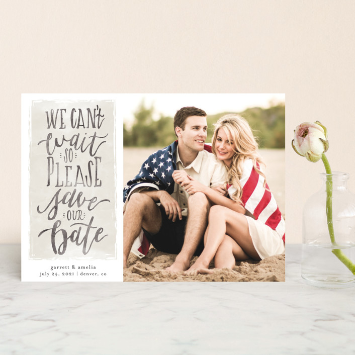 """""""Can't Wait"""" - Bohemian Save The Date Petite Cards in Charcoal by Grace Kreinbrink."""