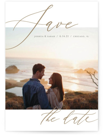 This is a classic and formal, minimalist, simple, brown Save the Dates by Lisa Tamura Guerrero called Flow with Standard printing on Smooth Signature in Petite Flat Card format. Striking and bold typography frames a single photo.