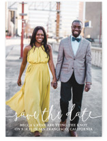 This is a white petite save the date by Christine Taylor called Boho Love with standard printing on smooth signature in petite.