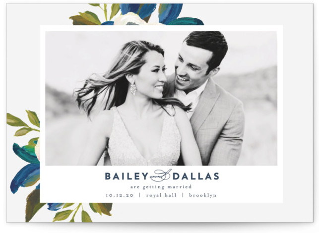 This is a landscape, portrait botanical, blue Save the Dates by AK Graphics called Our Something Blue with Standard printing on Signature in Petite fold over (blank inside) format. A pretty and painterly wedding invitation.