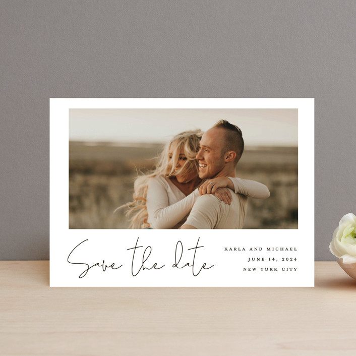 """Scripted Style"" - Save The Date Petite Cards in Cloud by Katherine Moynagh."