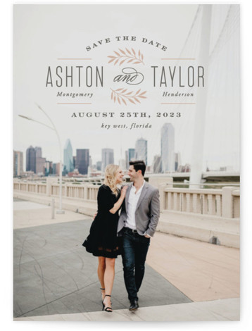 This is a portrait rustic, pink Save the Dates by Hooray Creative called Elegant Engagement with Standard printing on Signature in Petite Flat Card format. Elegant typography on a full bleed photo.