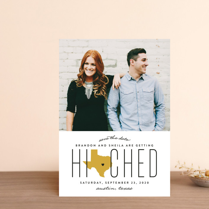 """Hitched in Texas"" - Save The Date Petite Cards in Golden by Erica Krystek."