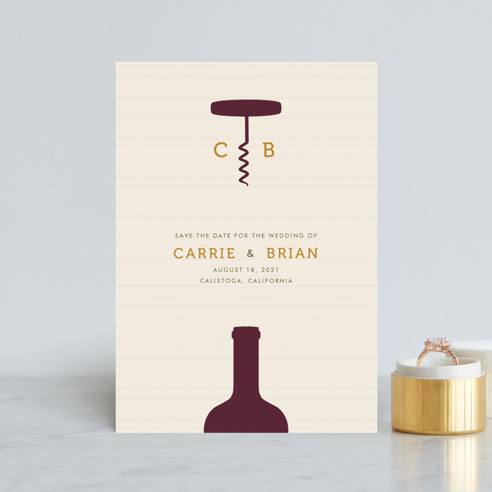 """""""Uncorked"""" - Save The Date Petite Cards in Cream by Annie Holmquist."""