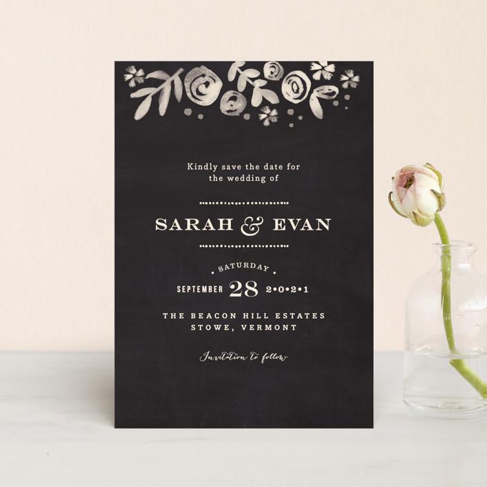 """Sun Bleached Florals"" - Save The Date Petite Cards in Blackboard by Jennifer Wick."