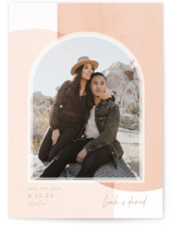 This is a pink petite save the date by Robin Ott called layered arch with standard printing on doublethick in petite.
