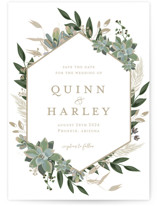 This is a white petite save the date by Susan Moyal called Succulent Surround with standard printing on signature in petite.