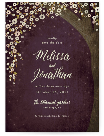 This is a portrait botanical, purple Save the Dates by Rebecca Bowen called Outside with Standard printing on Signature in Petite Flat Card format.