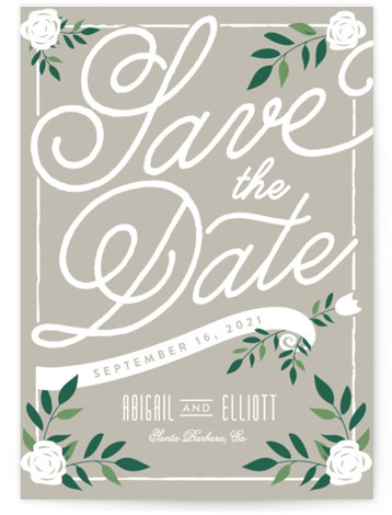This is a portrait rustic, grey Save the Dates by Leah Bisch called Blushing with Standard printing on Signature in Petite Flat Card format. Pretty florals and script set the tone for an elegant affair.