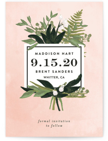 This is a portrait botanical, pink Save the Dates by Shiny Penny Studio called Botanical Name Plate with Standard printing on Signature in Petite Flat Card format. This wedding invitation, inspired by vintage botanical prints, features painterly florals and foliage ...