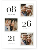 This is a white petite save the date by Hooray Creative called Triple Take with standard printing on smooth signature in petite.