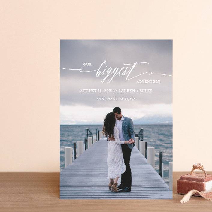 """""""Our Biggest Adventure"""" - Modern Save The Date Petite Cards in Almost Blush by Kate Ross."""
