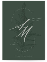 This is a green petite save the date by Leah Bisch called Forever with standard printing on doublethick in petite.