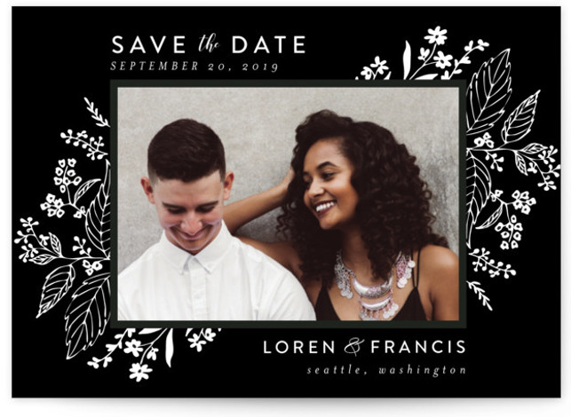 This is a landscape botanical, black, black and white Save the Dates by Chris Griffith called Tapestry with Standard printing on Smooth Signature in Petite Flat Card format. Delicate yet dramatic florals frame this elegant design
