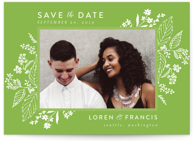 This is a landscape botanical, green Save the Dates by Chris Griffith called Tapestry with Standard printing on Signature in Petite fold over (blank inside) format. Delicate yet dramatic florals frame this elegant design