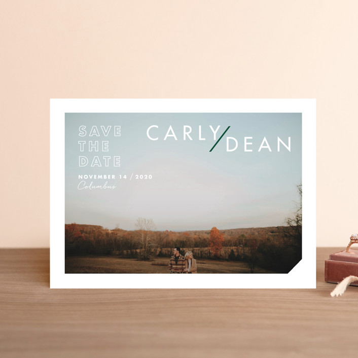 """""""Modern Expression"""" - Save The Date Petite Cards in Spruce by Keen Peachy."""