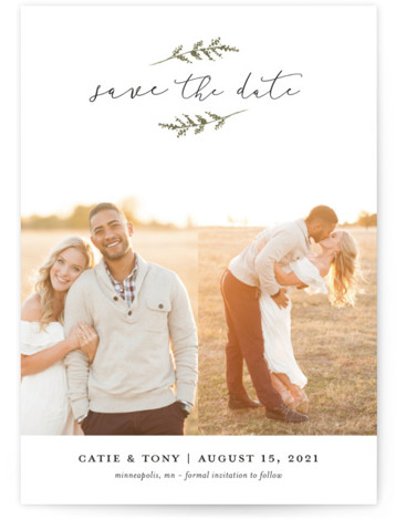 This is a portrait botanical, green Save the Dates by Robin Ott called Wheat Field with Standard printing on Smooth Signature in Petite Flat Card format. Simple and clean with touches of nature