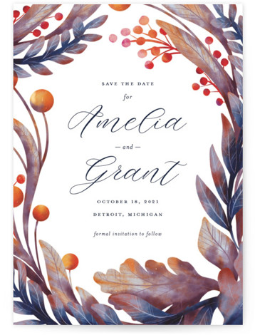 This is a botanical, blue, orange Save the Dates by Snow and Ivy called Autumn Canopy with Standard printing on Signature in Petite Flat Card format. Original floral illustration full of texture and layered color frame elegant text in this ...
