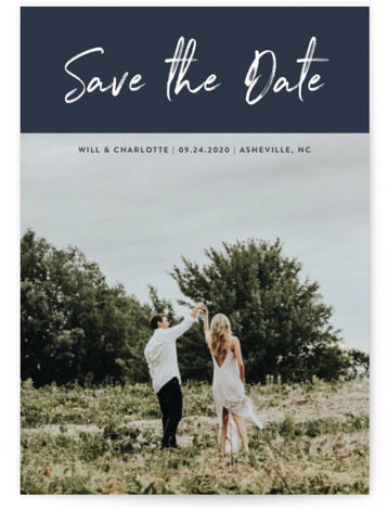 This is a landscape, portrait simple and minimalist, blue Save the Dates by Stacey Meacham called Modern sentiment with Standard printing on Smooth Signature in Petite Flat Card format. A modern casual script photo holiday card.
