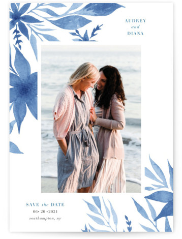 This is a botanical, floral, modern, painterly, watercolor, blue Save the Dates by Nicoletta Savod called Destiny with Standard printing on Smooth Signature in Petite Flat Card format. This elegant Save the Date features hand painted watercolor florals.