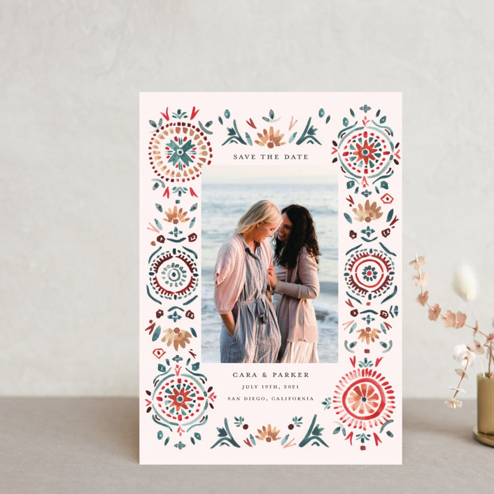 """""""Boho Bright"""" - Bohemian Save The Date Petite Cards in Pomegranate by Morgan Ramberg."""