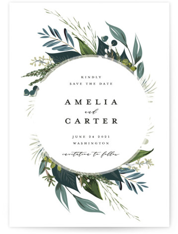 This is a botanical, elegant, floral, blue Save the Dates by Susan Moyal called Natures Greens with Standard printing on Signature in Petite Flat Card format. This wedding invitation design features a circular frame of hand drawn greenery