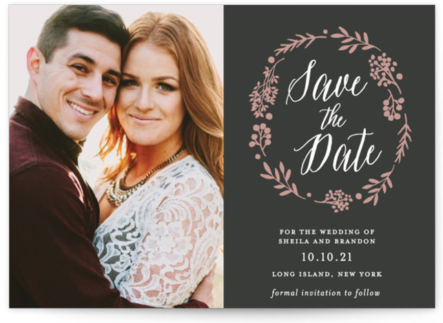 This is a landscape, portrait rustic, black Save the Dates by Gray Star Design called Rustic Modern Floral with Standard printing on Signature in Petite Flat Card format. This rustic inspired photo save the date features a classic modern design ...