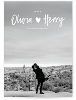 This is a white petite save the date by Creo Study called Hearty with standard printing on smooth signature in petite.