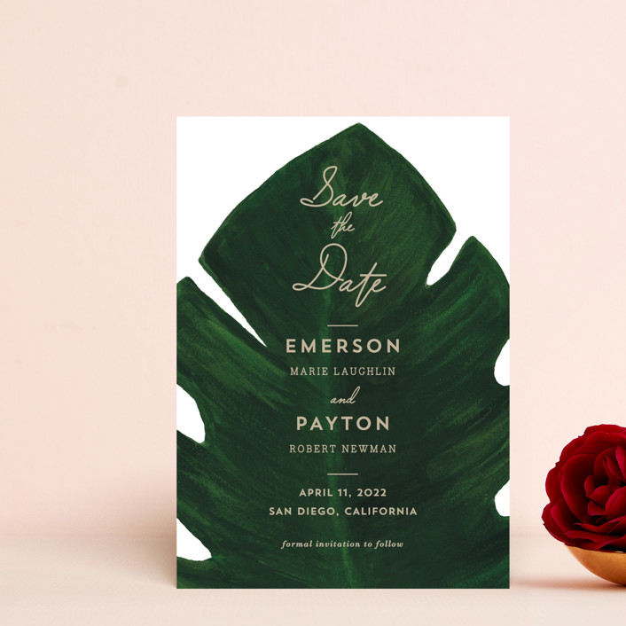"""""""Palm"""" - Save The Date Petite Cards in Leaf by Kaydi Bishop."""