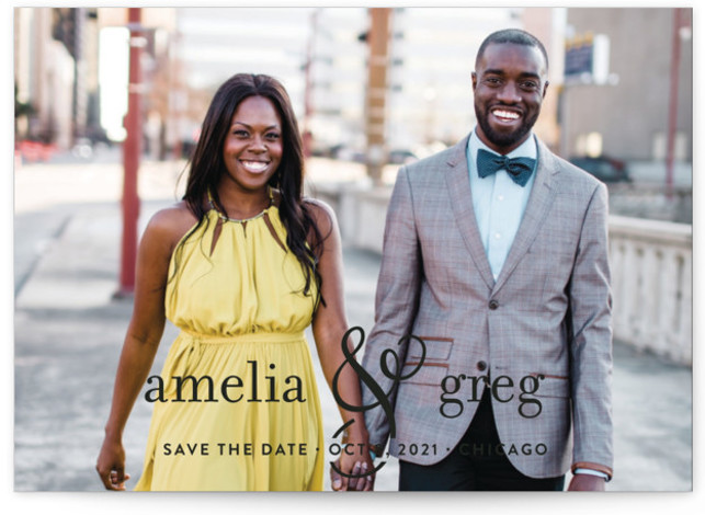 This is a landscape, portrait classical, formal, minimalist, modern, black Save the Dates by Kimberly FitzSimons called Two Become One with Standard printing on Smooth Signature in Petite Flat Card format. A full bleed save the date cards that feature ...
