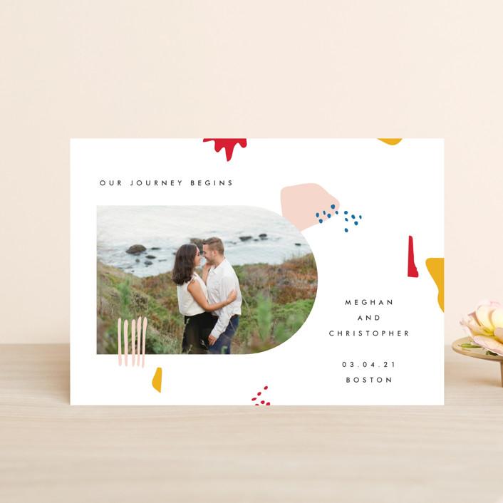 """Emilie"" - Modern Save The Date Petite Cards in Blush by Karen Schipper."