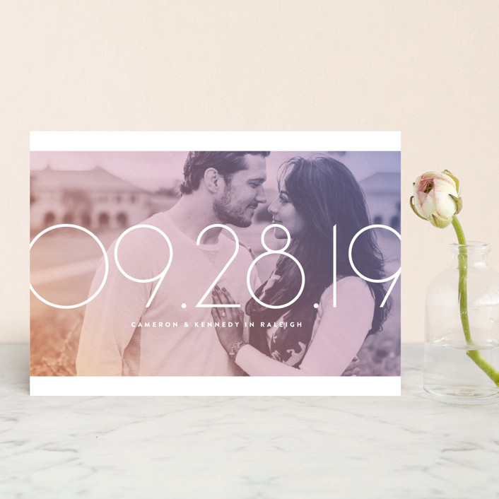 """""""Lucky Numbers"""" - Save The Date Petite Cards in Lavender by Jody Wody."""