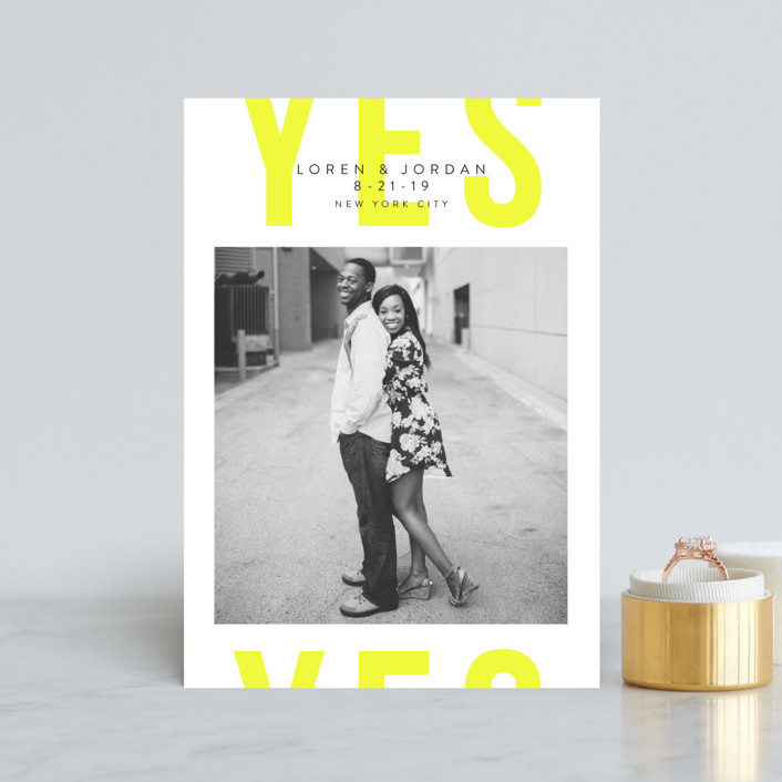 """Big Bold Yes"" - Save The Date Petite Cards in Sunshine by Catherine Culvenor."