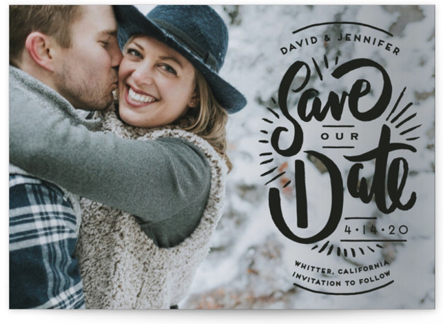This is a landscape hand drawn, black Save the Dates by Shiny Penny Studio called Marker Letters with Standard printing on Signature in Petite Flat Card format. This photo save the date features hand drawn lettering in a vintage style. ...