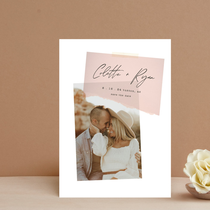 """""""Keepsake"""" - Modern Save The Date Petite Cards in Blush by Morgan Kendall."""