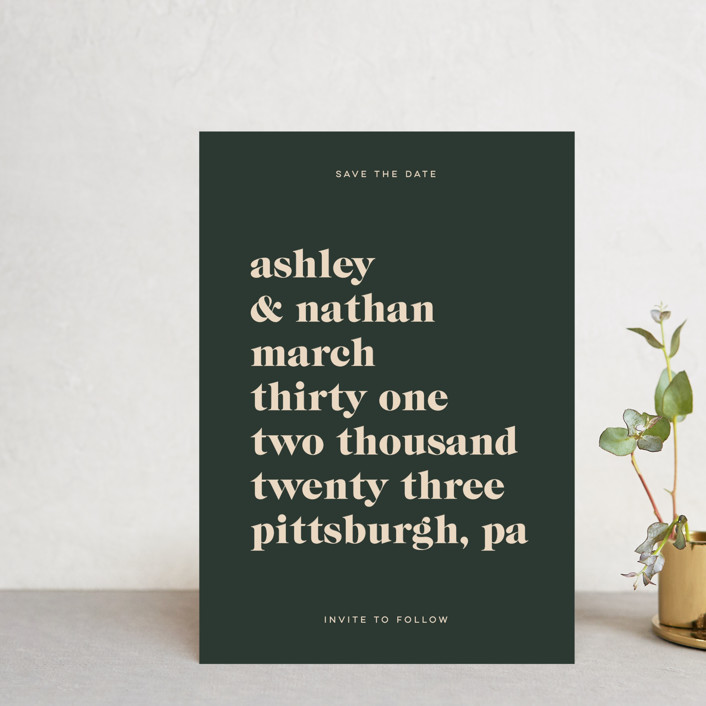 """""""Modern Type"""" - Save The Date Petite Cards in Spruce by April Astudillo."""
