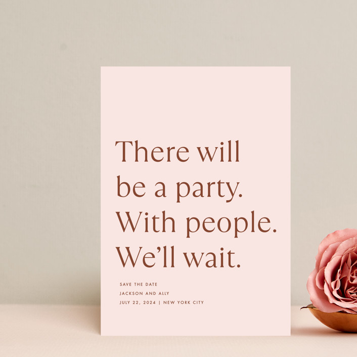 """""""There Will Be a Party"""" - Funny Save The Date Petite Cards in Terracotta by Amy Payne."""