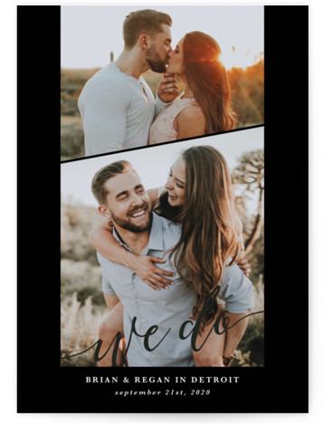 This is a portrait simple and minimalist, black Save the Dates by Laura Hamm called We Do with Standard printing on Smooth Signature in Petite Flat Card format. Multi photo save the dave with whimsical type
